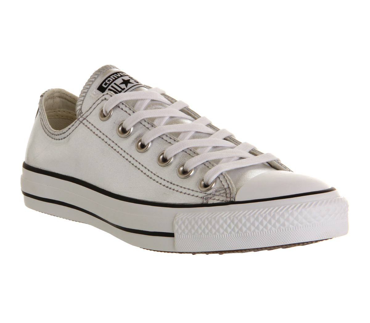 Converse-All-Star-Leather-Ox-Low-Silver-Metallic-Trainers-Shoes