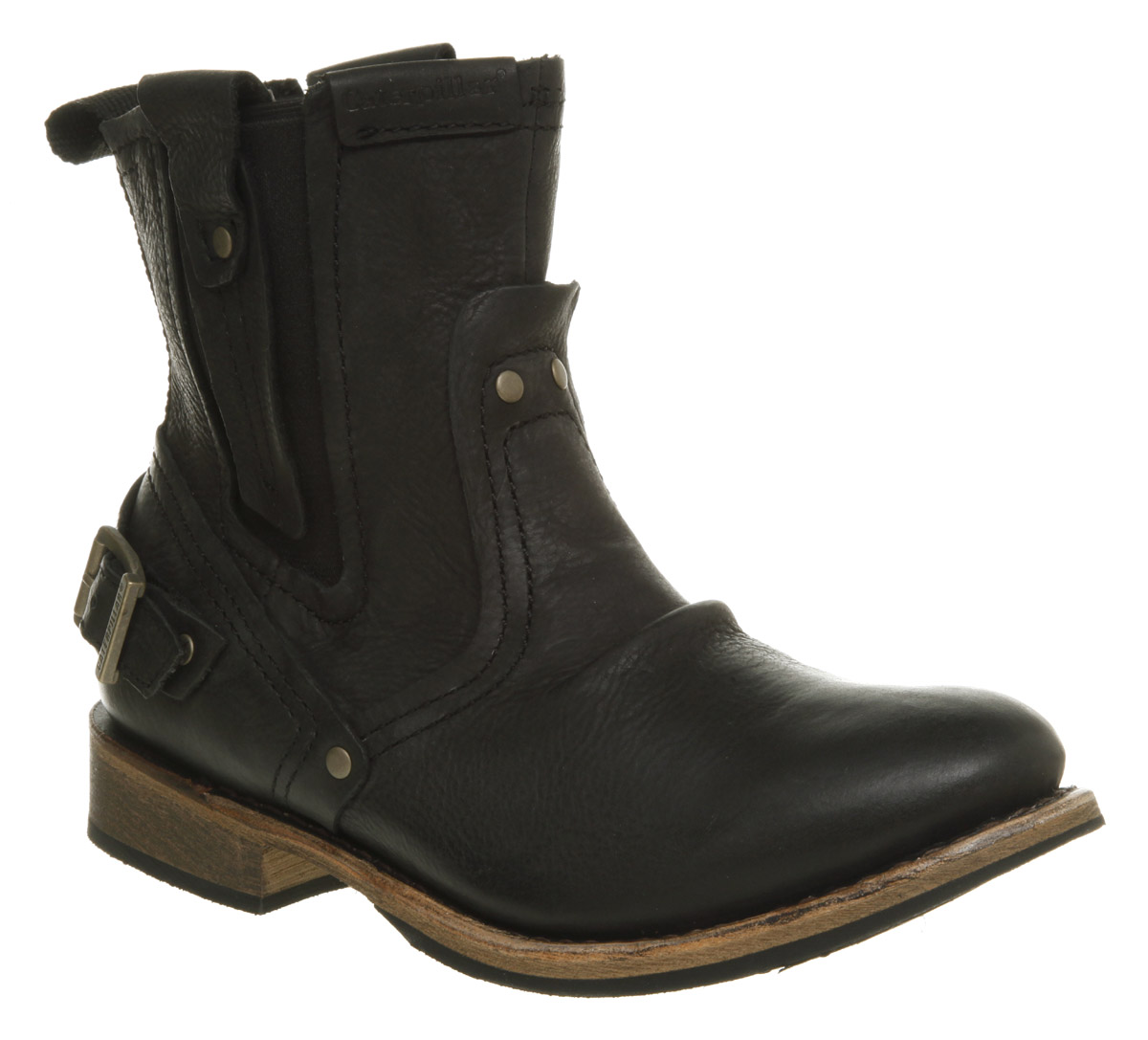 Mens Caterpillar Vinson Biker Boot Black Wyoming Leather ...