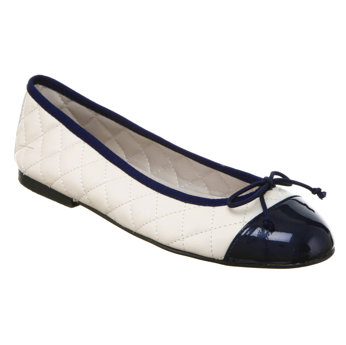 0c96f516d Womens Office Girl Cecilia Toe-cap Ballerina Navy Blue Patent cream ...