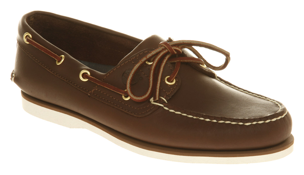 mens timberland new boat shoe brown leather casual