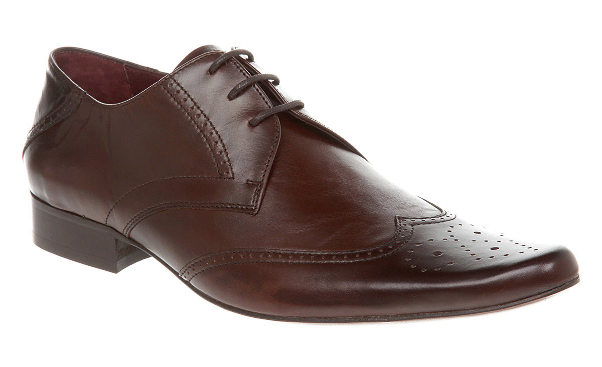 mens poste nobrogue two brown creased leather shoes ebay