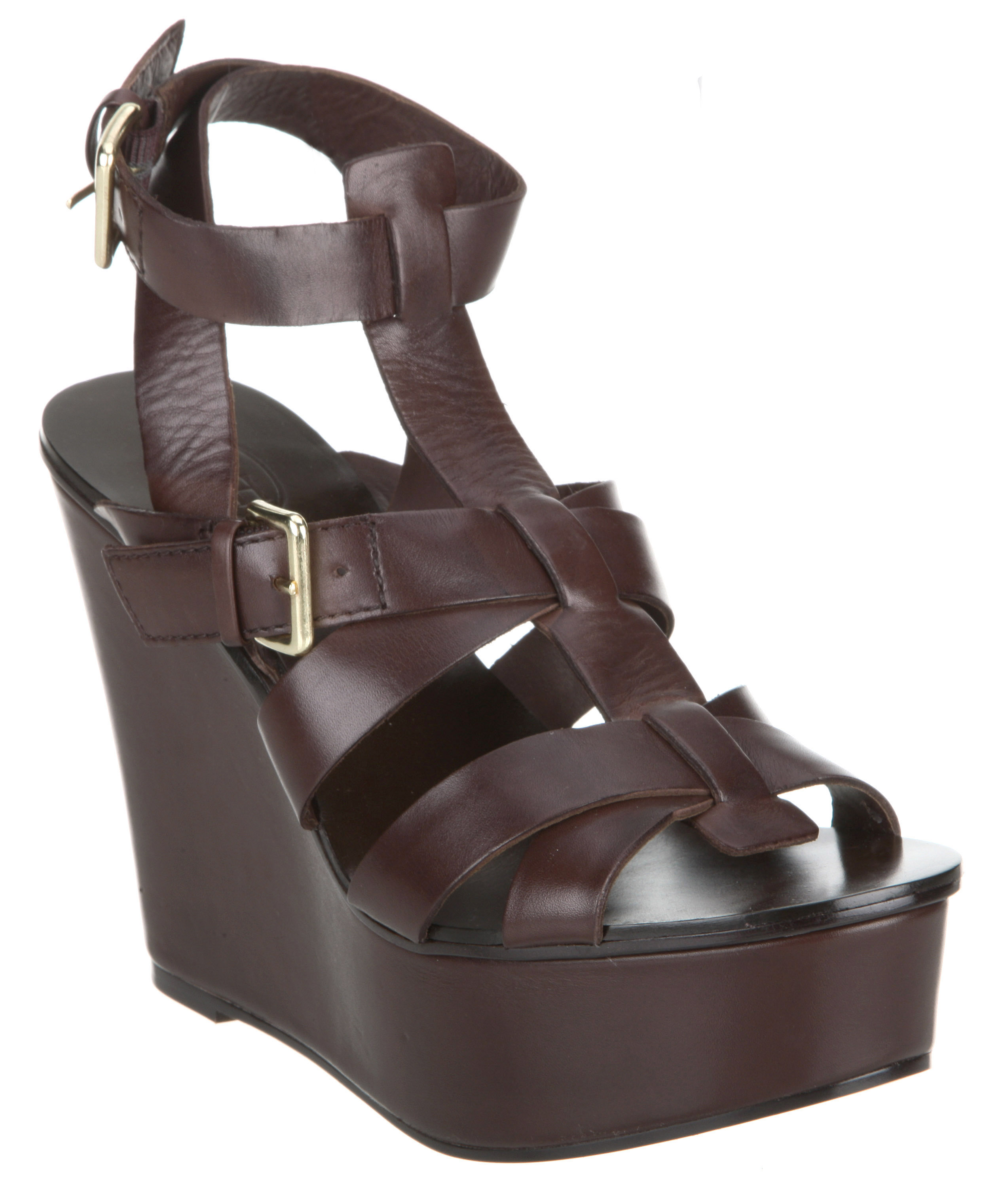 Womens-Ash-Banyan-Wedge-Gladiator-Choc-Brown-Leather-Heels