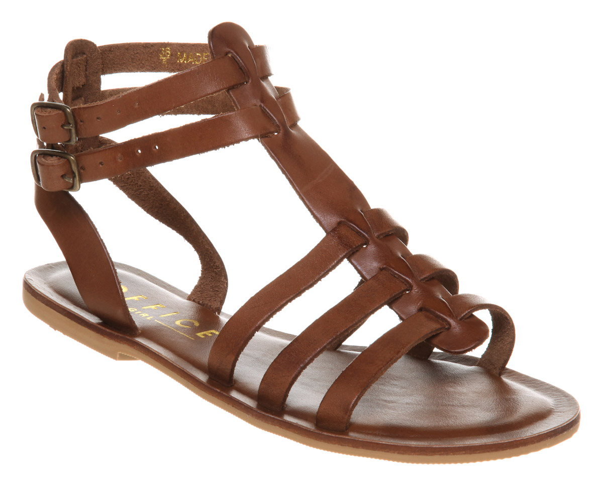 Womens-Office-Girl-Helena-Gladiator-Tan-Leather-Sandals