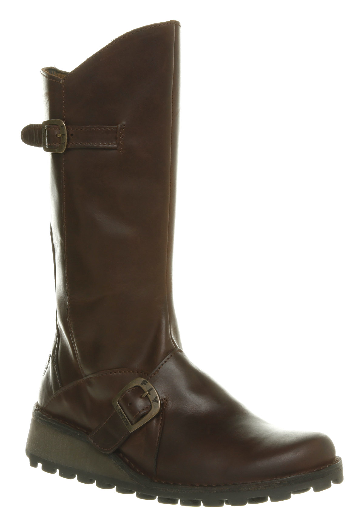 womens fly fly mes wedge calf boots brown