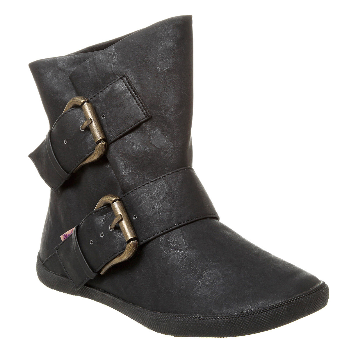 womens blowfish hold em pirate ankle boot black relax pu