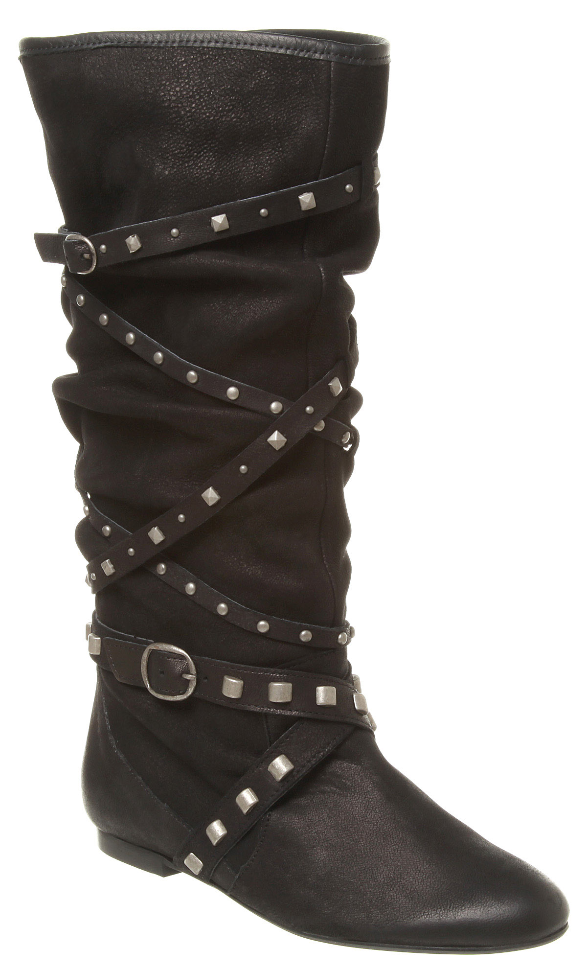 Womens-Office-Girl-Catraz-Stud-Boot-Black-Leather-Boots