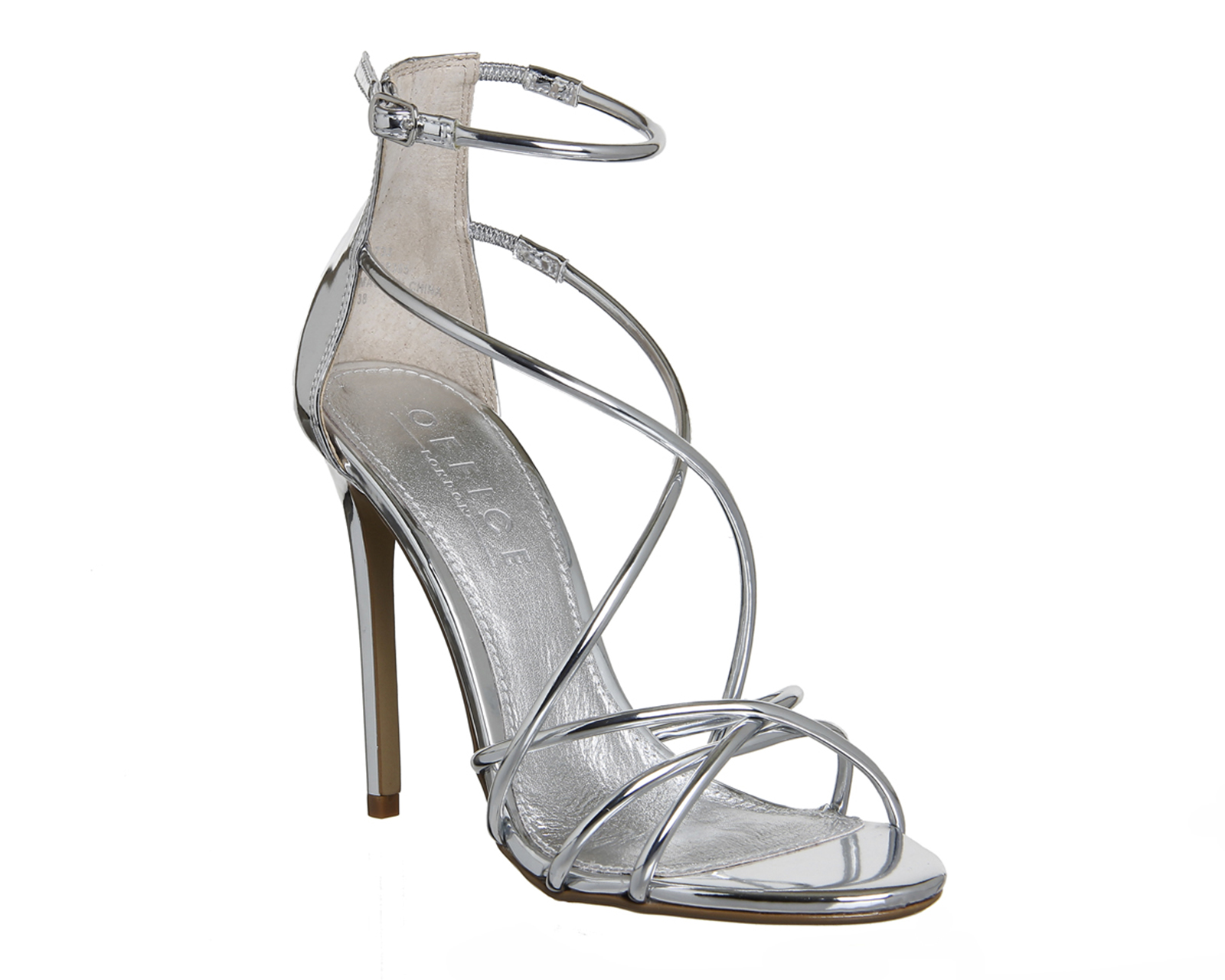 Womens Office Angel Tubular Strap Sandals Silver Mirror