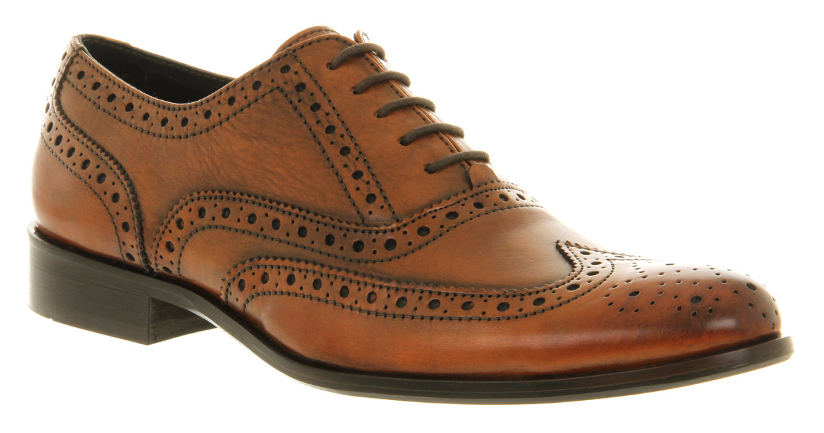 Mens Office Frankie Brogue Tan Leather Formal Shoes