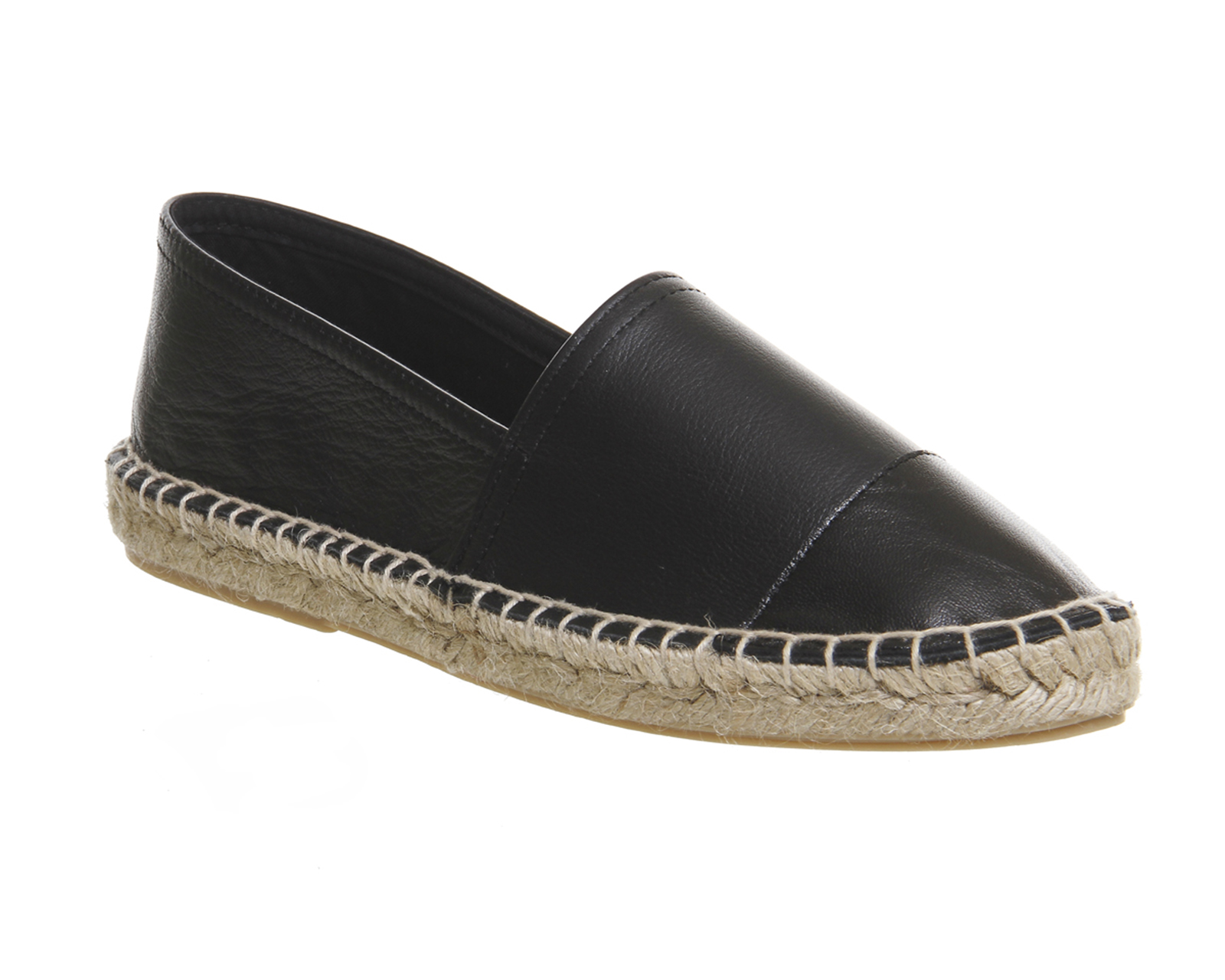 monogram leather espadrilles featuring embossed and interlaced ysl initials, a tab in back and a mid-sole and interior in jute braid.