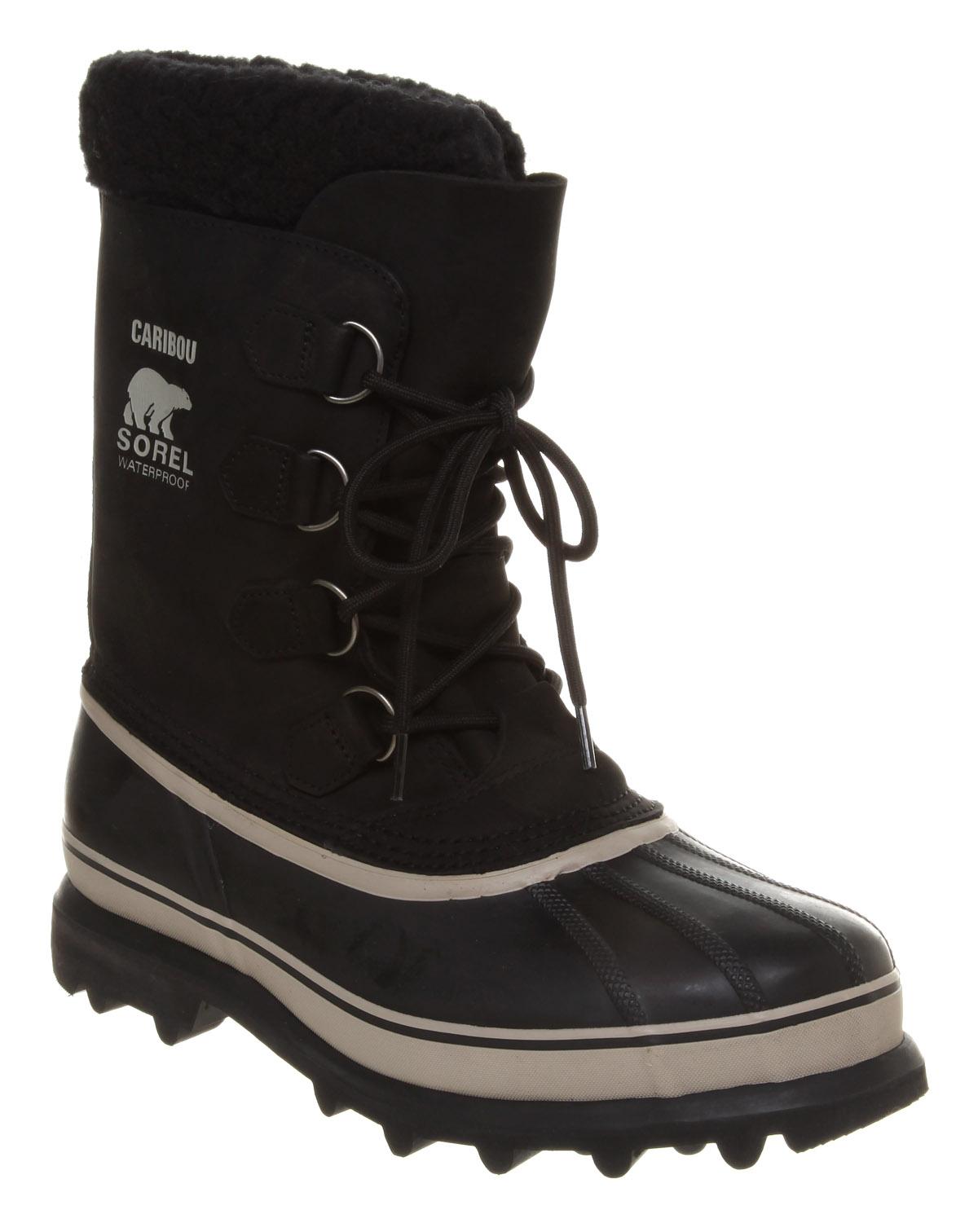 Mens-Sorel-Caribou-Nubuck-High-Lace-Black-Nubuck-Boots