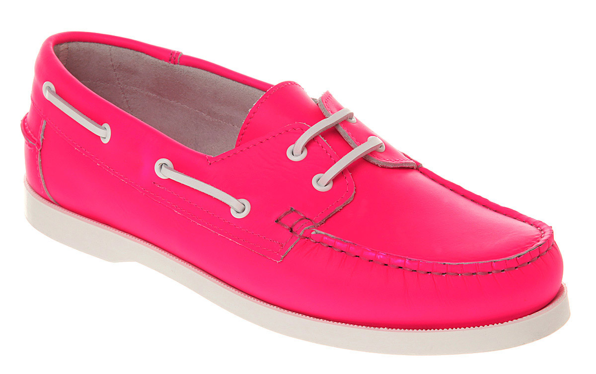 mens office yachting boat shoe neon pink lthr casual shoes