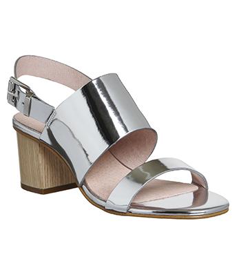 Womens Office Meadow Block Heel Slingback Sandals SILVER MIRROR Heels