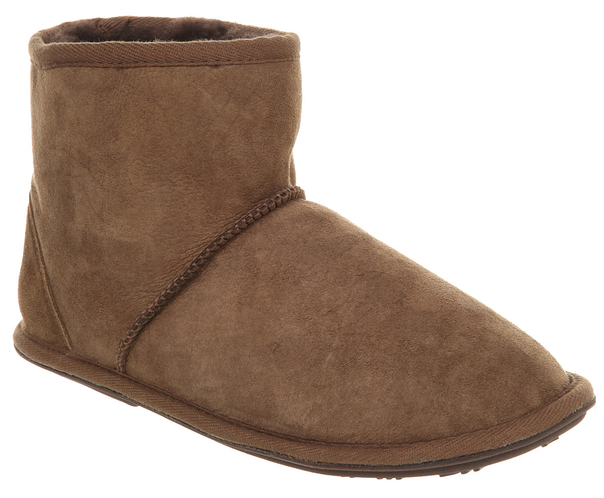 Mens Just Sheepskin Chester Slipper Mid Boot Choc Suede EBay