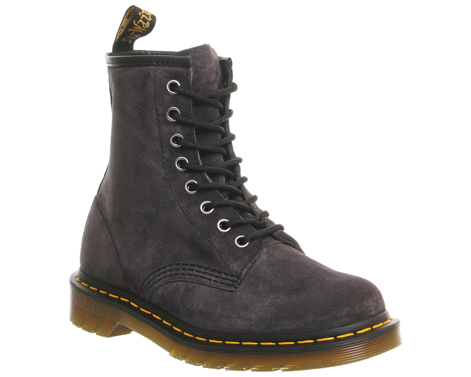 womens dr martens 8 eyelet lace up boots graphite grey