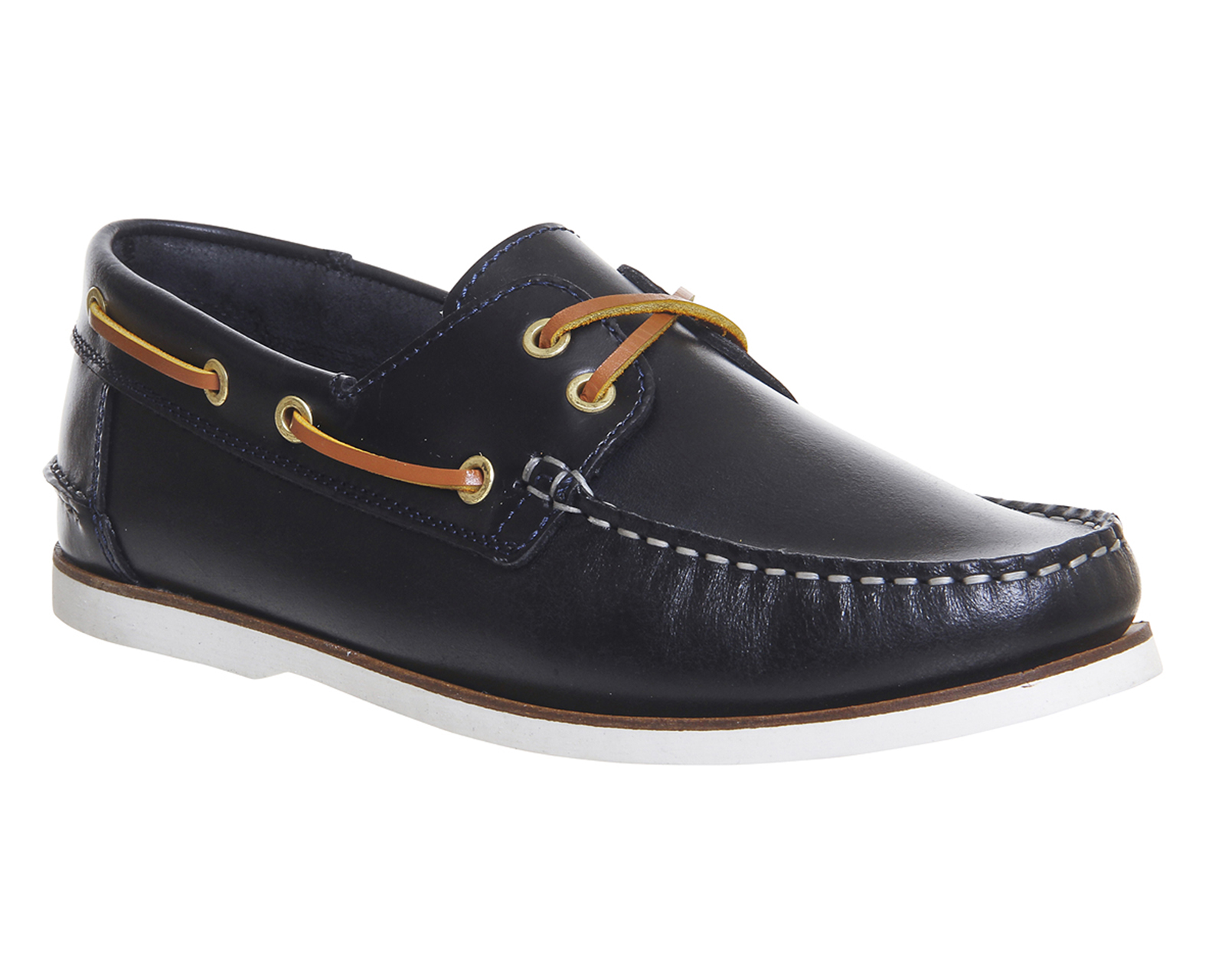 mens ask the missus deck boat shoes navy leather casual shoes