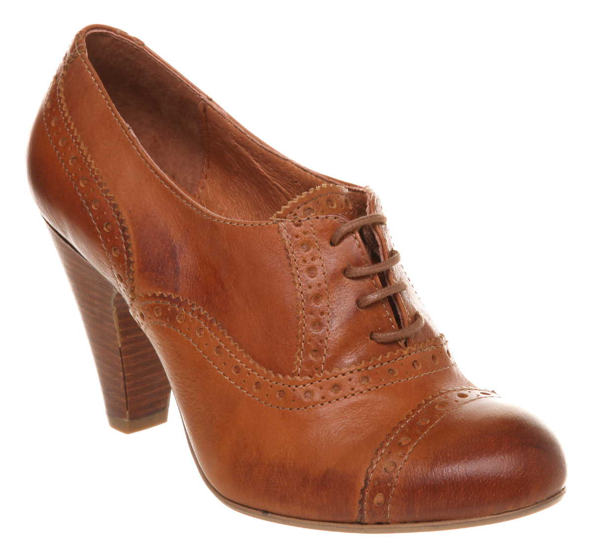 Image Is Loading Womens Office Brogue Baby Tan Leather Heels