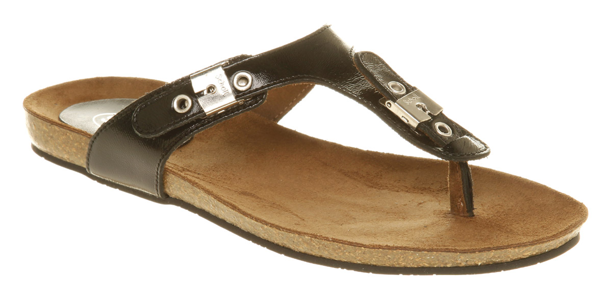Womens-Scholl-Bimini-Tbar-Footbed-Black-Patent-Sandals