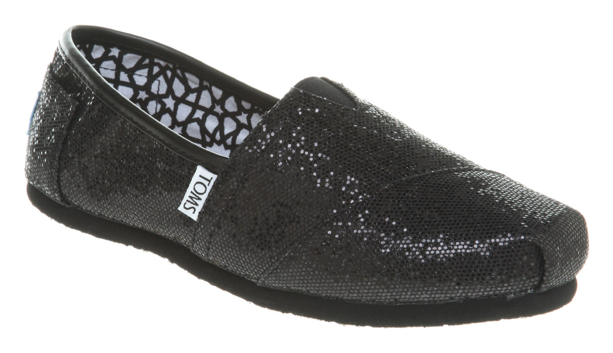 Toms Classic Black Glitter Flat Shoes