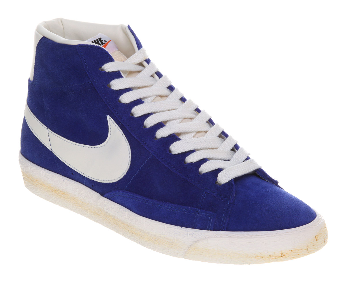 hot sale online 3dfe9 4e1b2 ... hot mens nike blazer hi suede vntage old royal sail trainers shoes  99a77 1727c