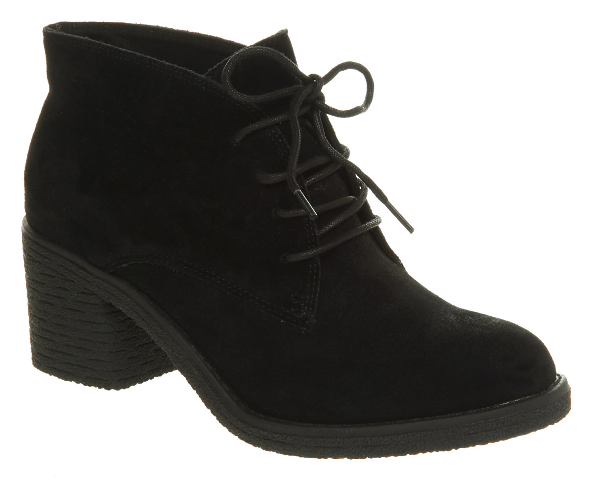 womens office keeper lace up black suede boots ebay