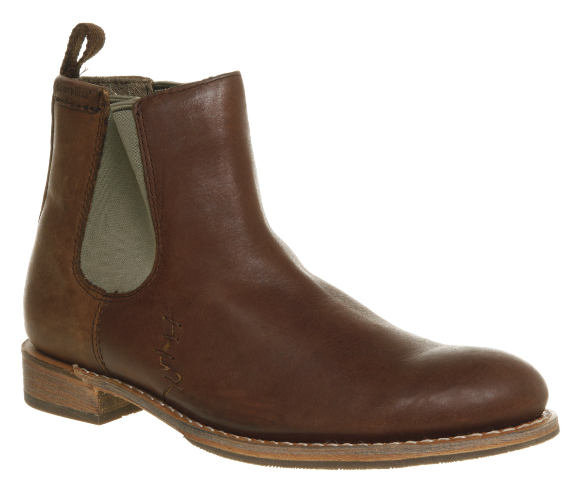 mens caterpillar zachary chelsea boot brown leather boots