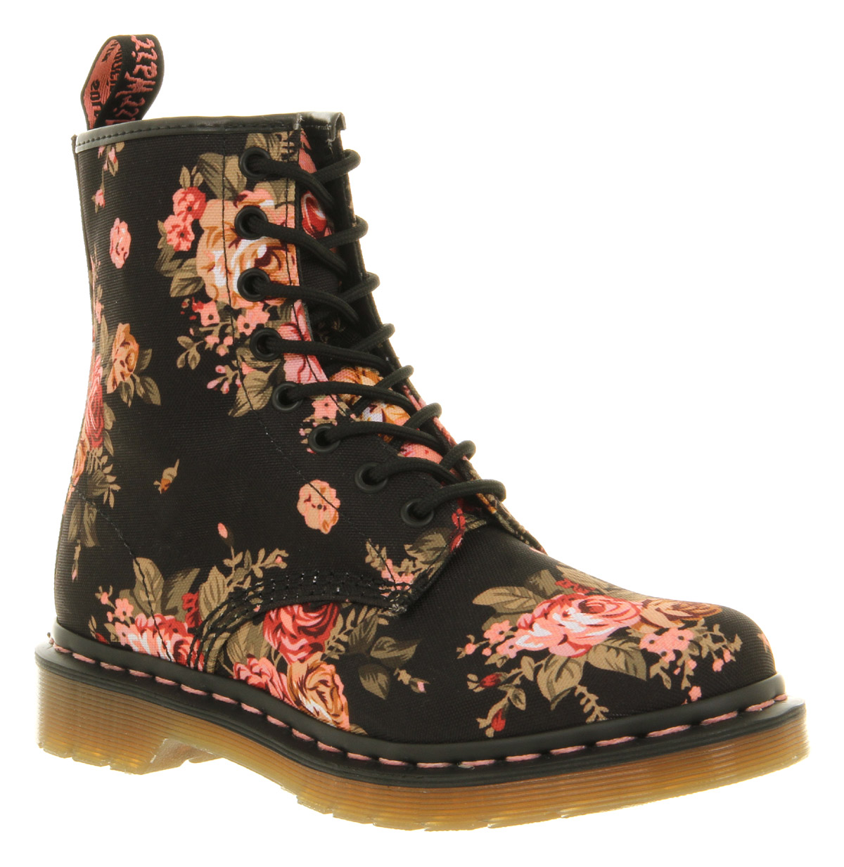 womens dr martens 8 eyelet lace up bt black floral boots. Black Bedroom Furniture Sets. Home Design Ideas