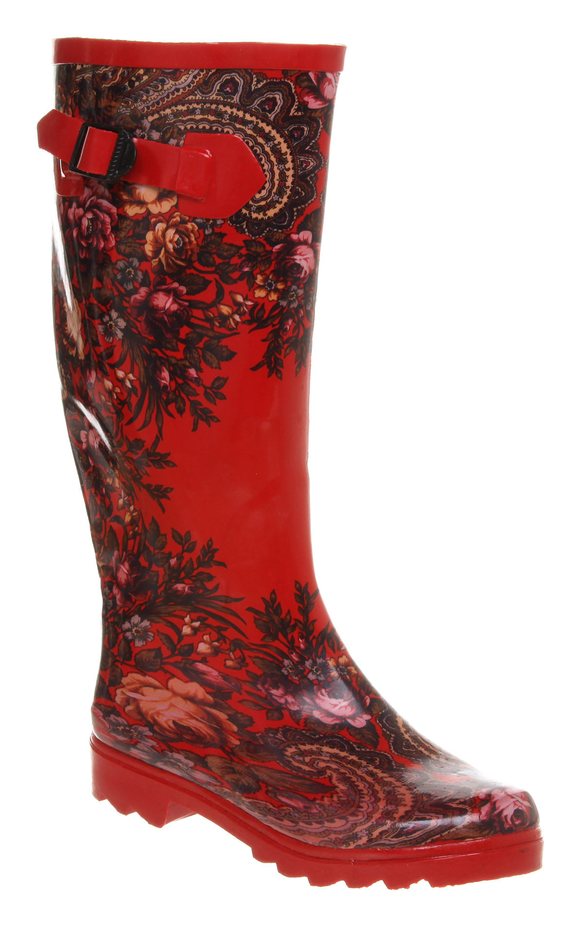 Womens-Office-Girl-Nutty-Knee-Welly-Red-Floral-pais-Boots