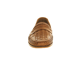 Mens Office Stoke Weave Slip On Tan Washed Leather Casual Shoes