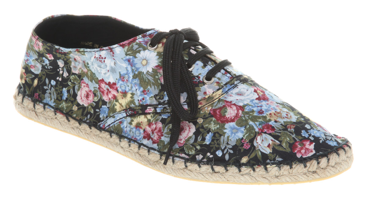 Womens-Office-Girl-Affix-Espadrille-Black-Floral-Flats