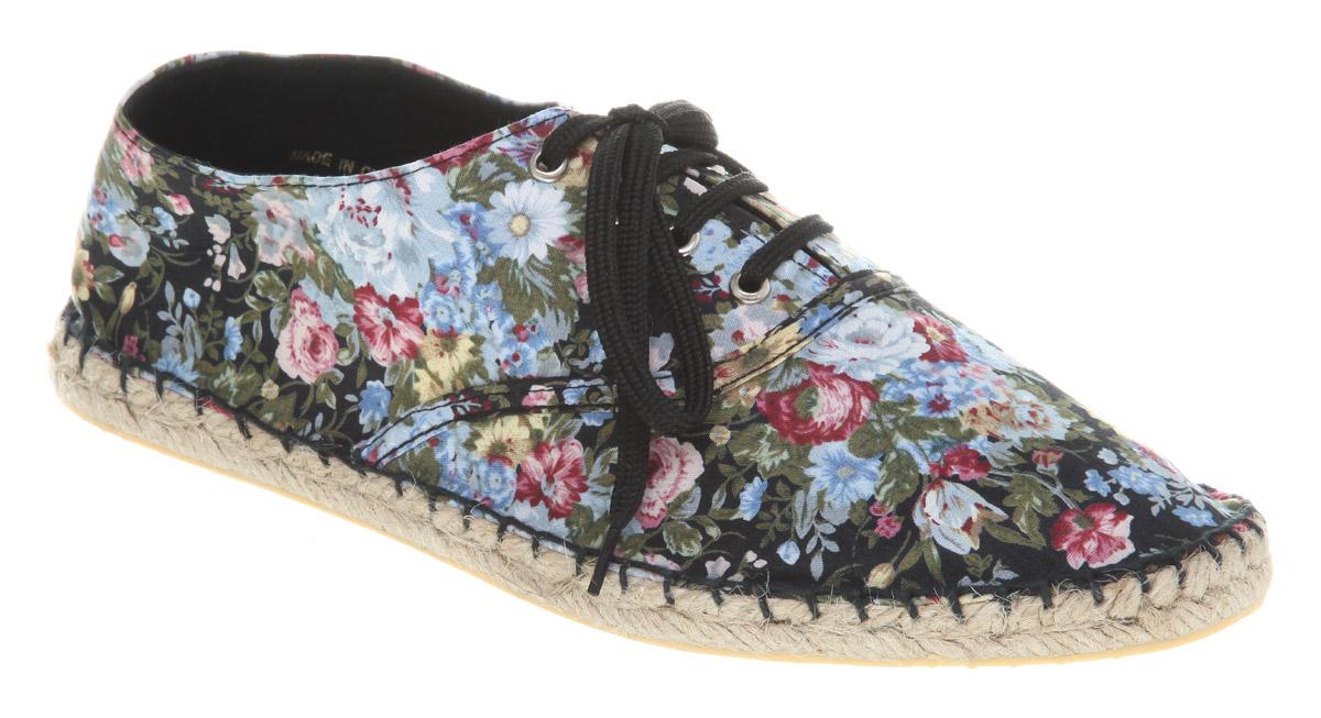 Womens-Office-Girl-Affix-Espadrille-Black-Floral-Flats