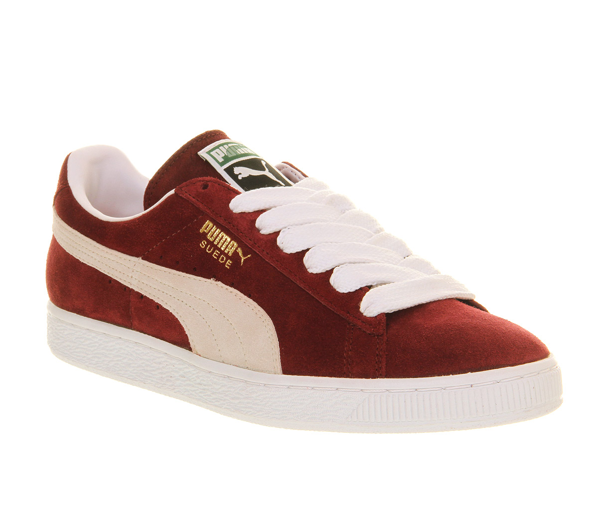 Mens-Puma-Suede-Classic-TEAM-BURGUNDY-WHITE-Trainers-