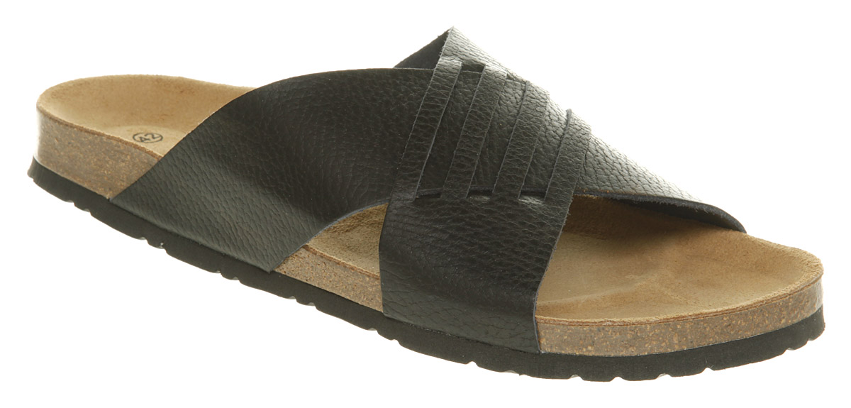 Mens-Office-Grill-Xover-Sandal-Black-Leather-Sandals