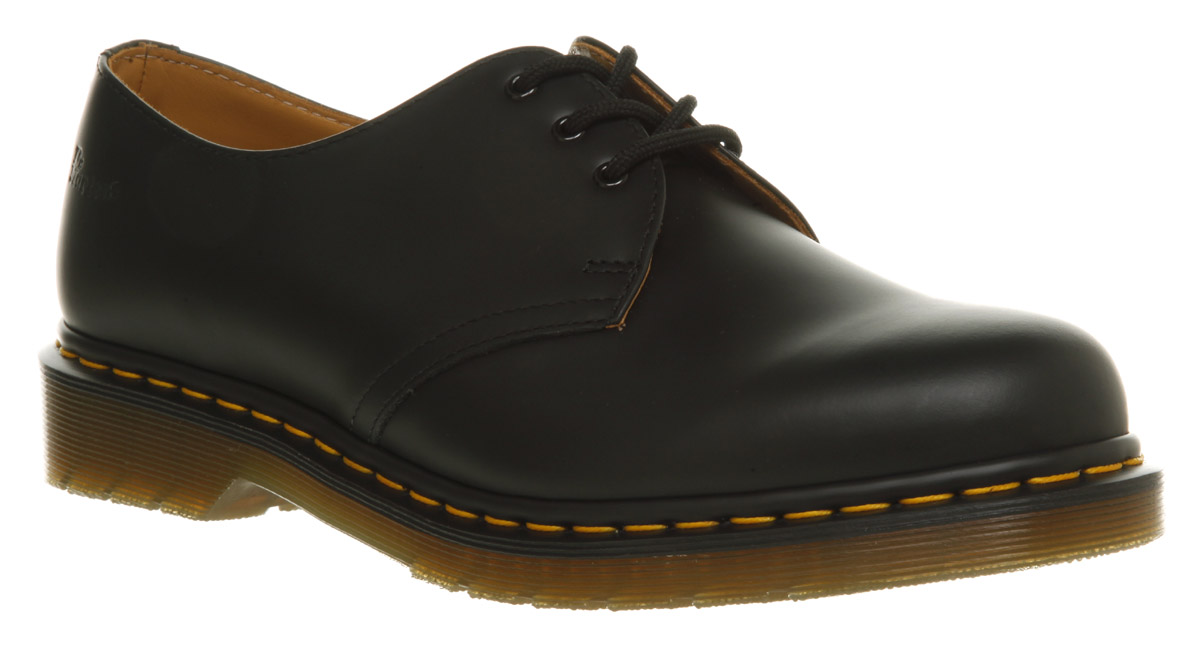 mens dr martens 3 eye lace shoes black leather formal