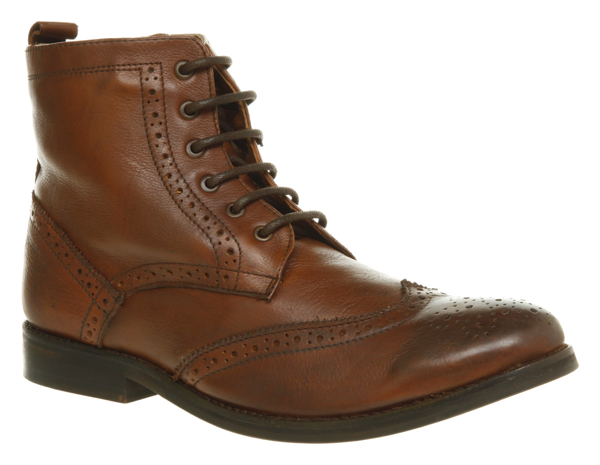 Mens-Ask-The-Missus-Operation-Brogue-Boot-Tan-Leather-Boots