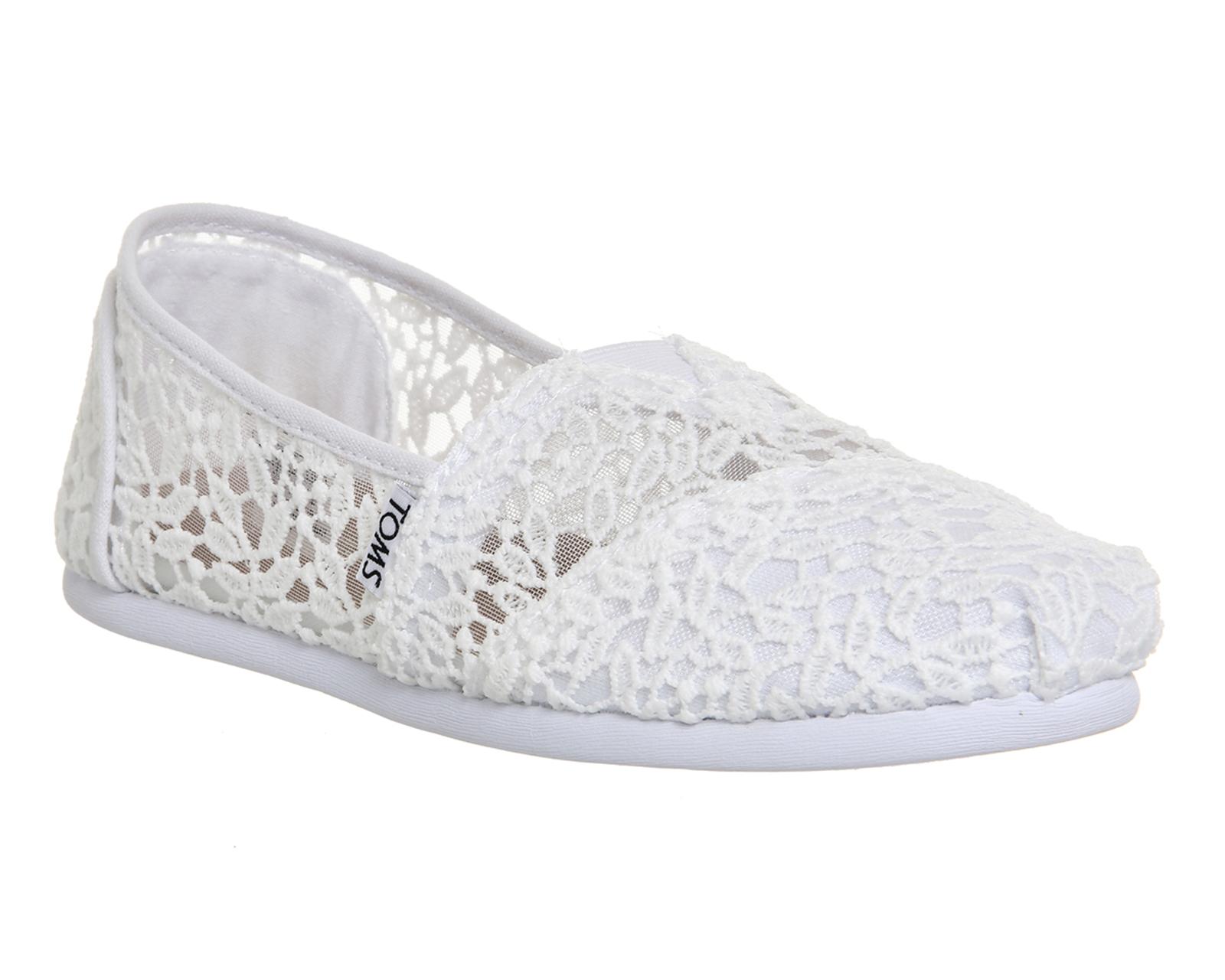 Toms Classic White Lace Leaves Womens Espadrilles Slipons-8 IJGIsDsox