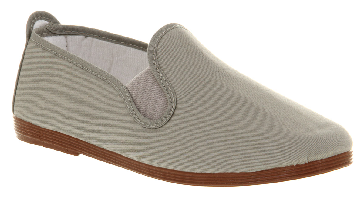 Womens-Flossy-Flossy-Elastic-Pump-Grey-Canvas-Flats