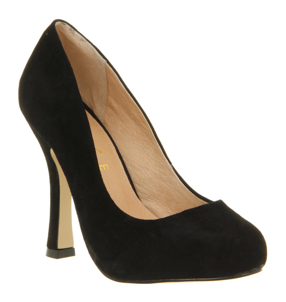 womens office klassy court black kid suede heels ebay