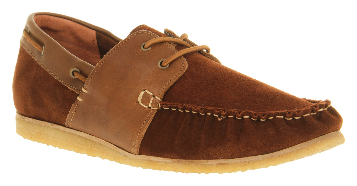 Mens-Ffor-Jakob-Moccasin-Rust-Suede-Casual-Shoes