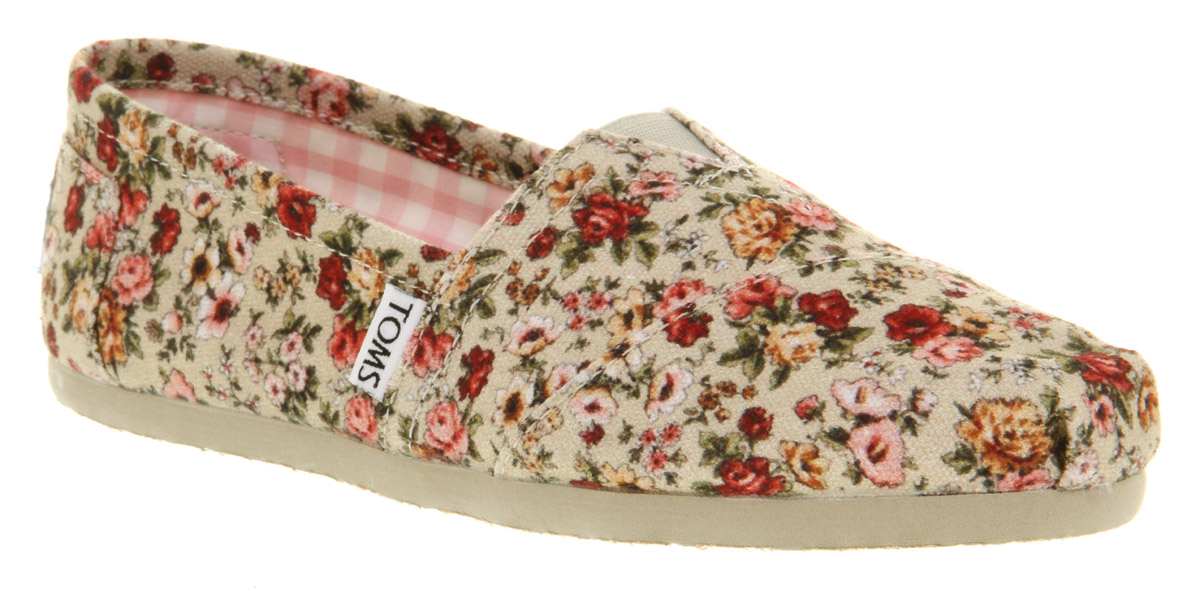 Womens-Toms-Seasonal-Classic-Slip-On-Nat-Floral-Smu-Flats
