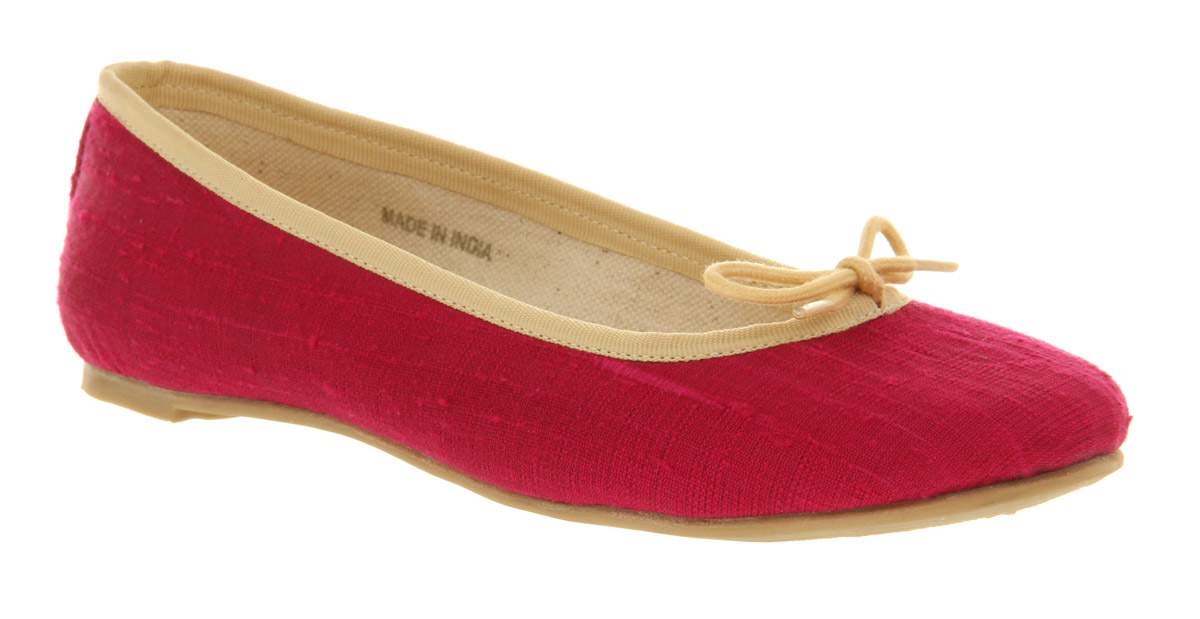 Womens-Office-Girl-Maiden-Silk-Ballerina-Fuchsia-Silk-Flats