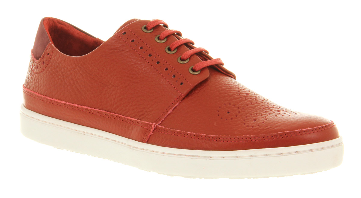 Mens-Ffor-Isaac-Lace-Sneaker-Red-Leather-Casual-Shoes