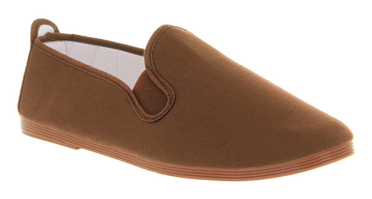 Mens-Flossy-Flossy-Plimsole-Choc-Canvas-Casual-Shoes