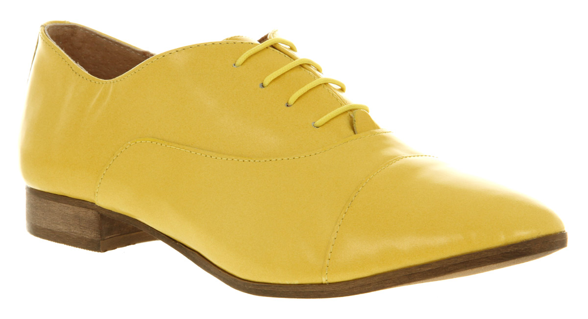 Womens-Office-Girl-Macho-Lace-Up-Yellow-Leather-Flats