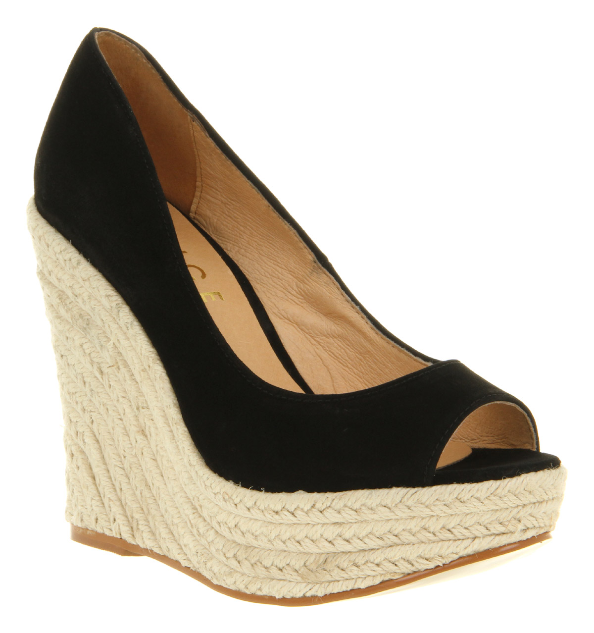 Womens office london walk all over wedge black suede heels for All black piscine wedges