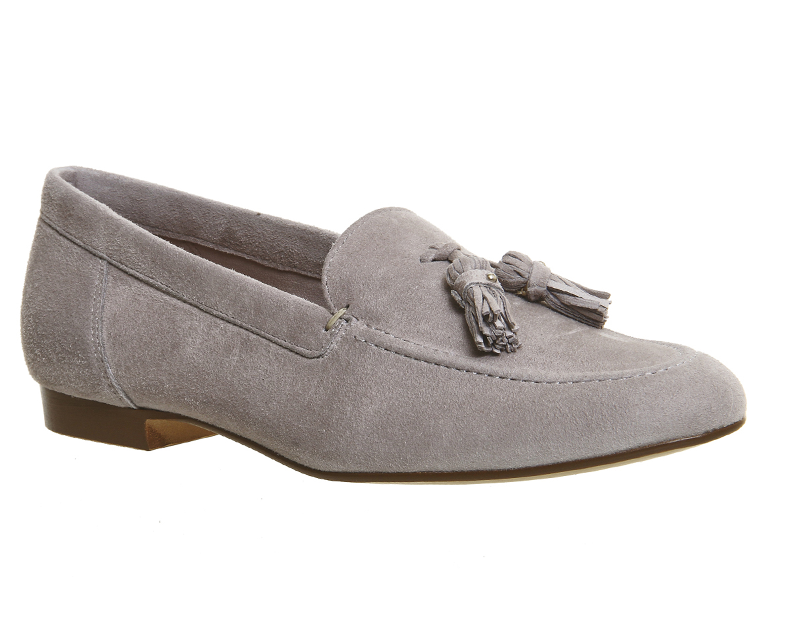 Womens Office Retro Tel Loafers Grey Suede Flats