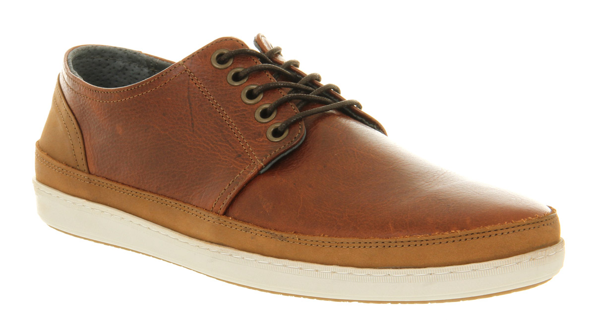 Mens Office Manta Lace Brown Leather Casual Shoes