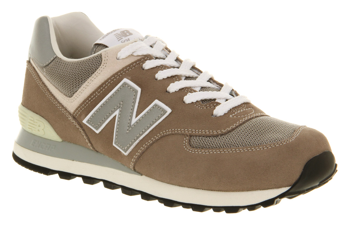 Mens-New-Balance-574-Mushroom-Grey-Trainers-Shoes