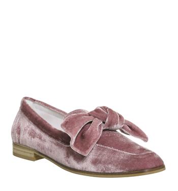 Womens Office Possum Bow Loafers Pink Velvet Flats