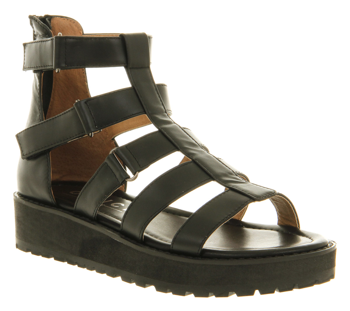 Womens-Office-London-Champion-Gladiator-Black-Leather-Sandals