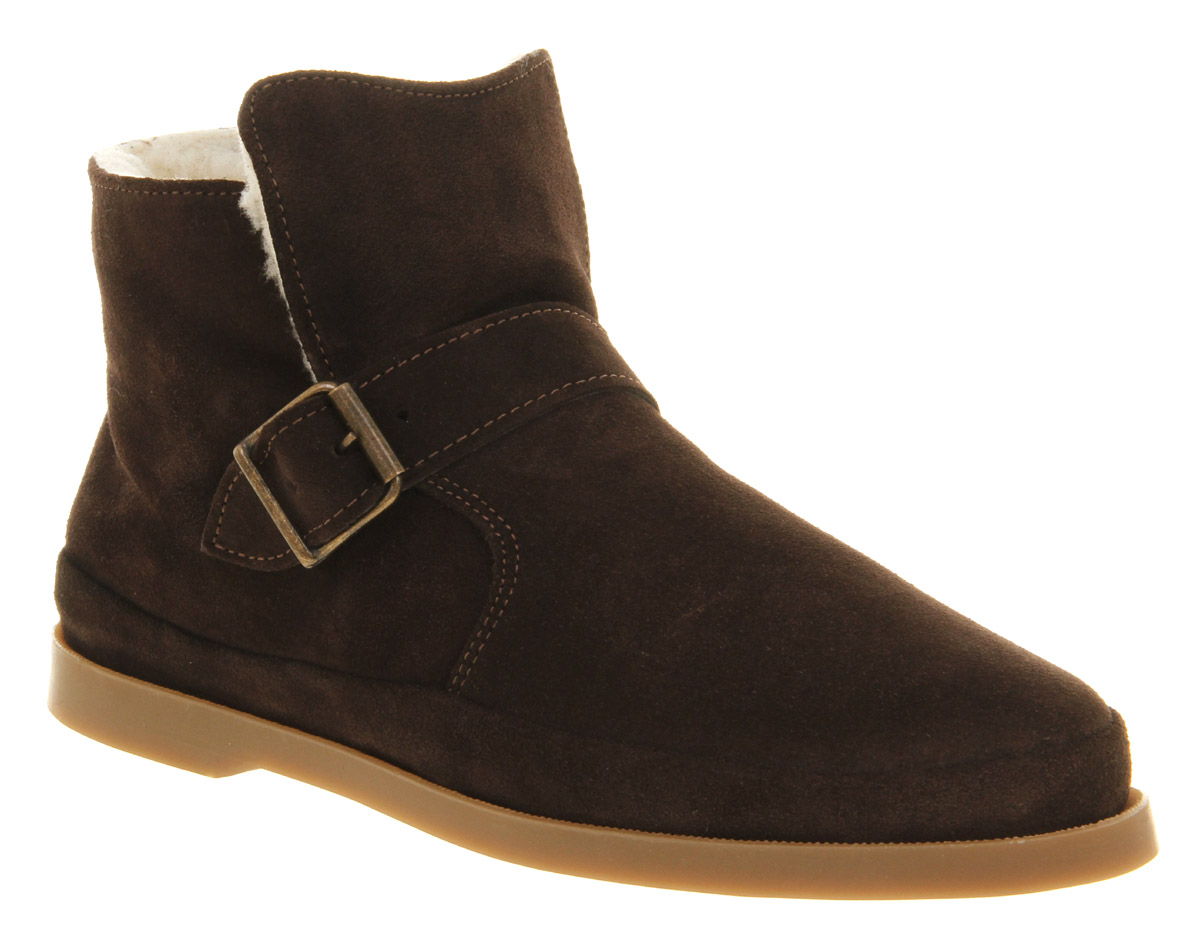 mens ask the missus divorce shearling boot chocolate suede